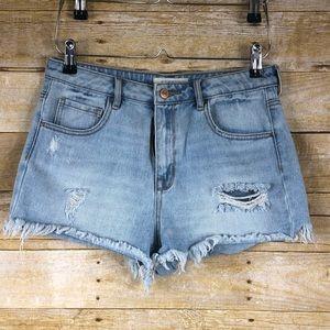 PacSun High Rise Light Wash Cut off Shorts Sz 29